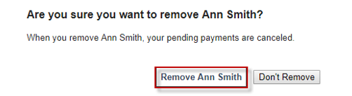 Screen capture showing the confirmation of removing a payee
